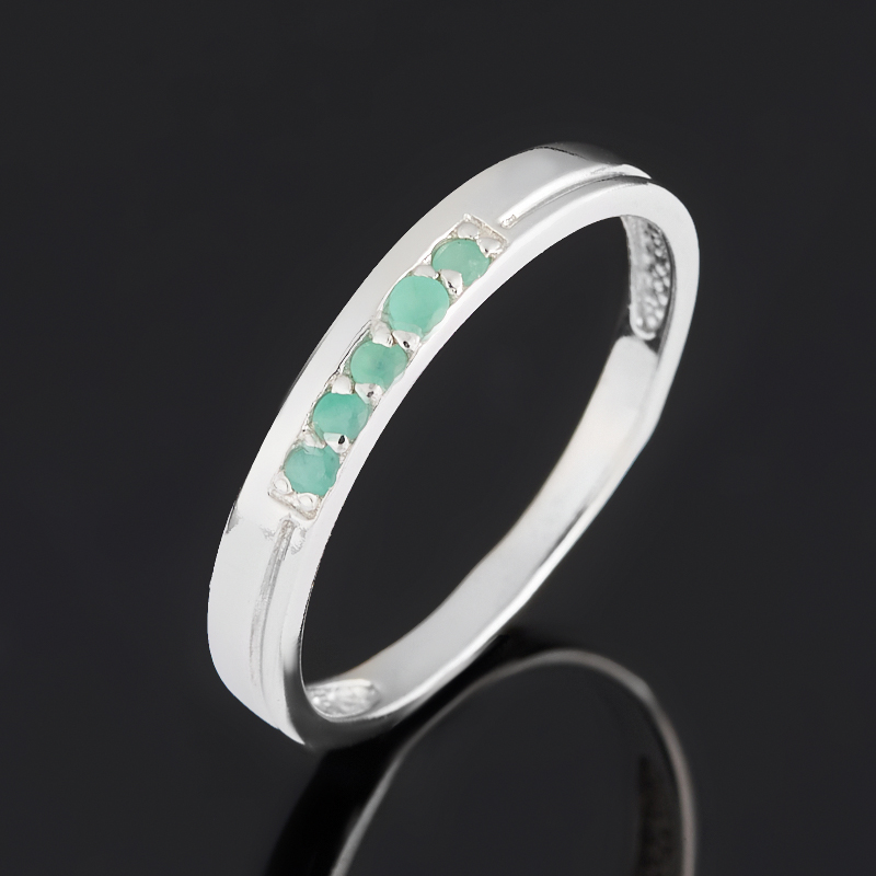 Кольцо изумруд Колумбия (серебро 925 пр. родир. бел.) огранка размер 17,5