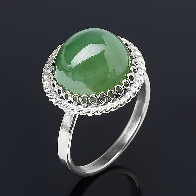 Кольцо нефрит зеленый (нейзильбер) размер 16