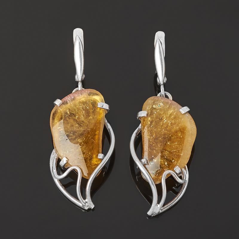 Серьги турмалин желтый (дравит) (серебро 925 пр.)