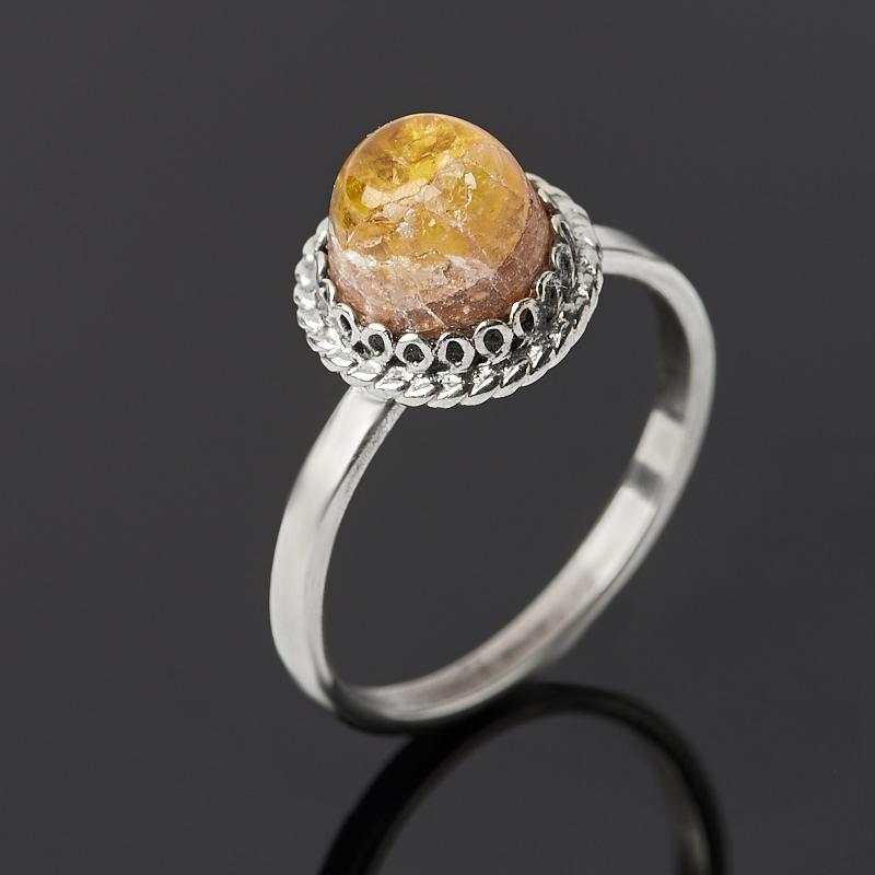 Кольцо турмалин желтый (дравит) (нейзильбер) размер 17,5