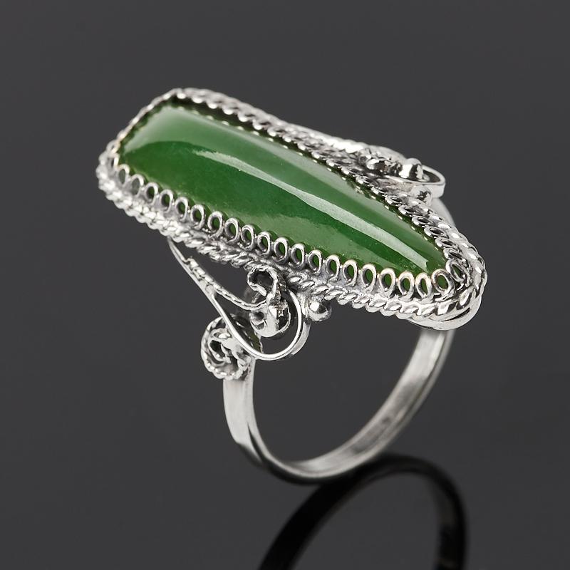 Кольцо нефрит зеленый Россия (нейзильбер) размер 18,5