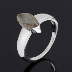 Кольцо лабрадор Мадагаскар (серебро 925 пр. родир. бел.) размер 18