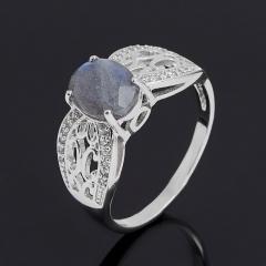 Кольцо лабрадор Мадагаскар (серебро 925 пр. родир. бел.) огранка размер 18,5