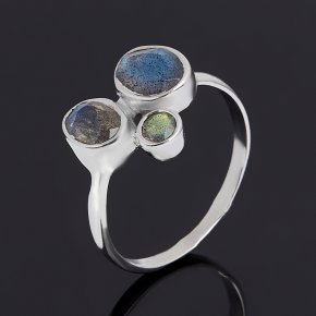Кольцо лабрадор Мадагаскар (серебро 925 пр. родир. бел.) огранка размер 16,5