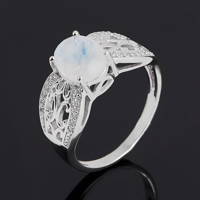 Кольцо лунный камень (адуляр) (серебро 925 пр. родир. бел.) огранка размер 18