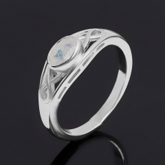 Кольцо лунный камень (адуляр) Индия (серебро 925 пр. родир. бел.) огранка размер 17,5