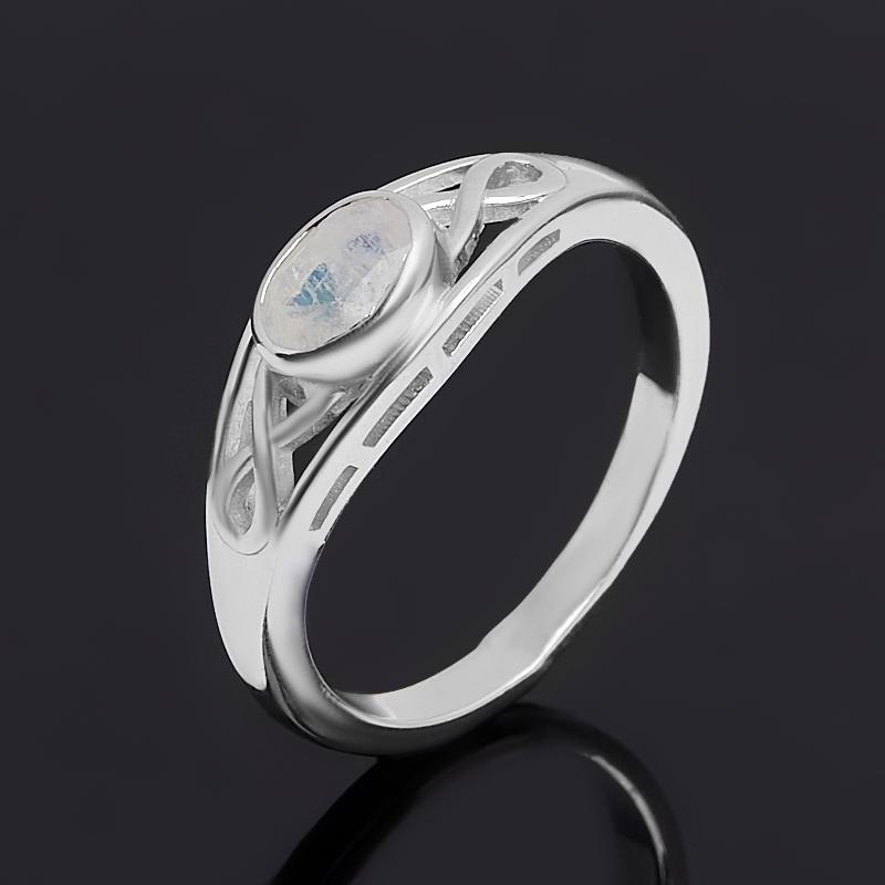 Кольцо лунный камень (адуляр) (серебро 925 пр. родир. бел.) огранка размер 17,5