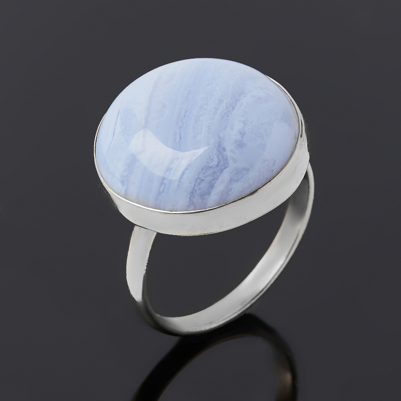 Кольцо агат голубой (нейзильбер) размер 18,5