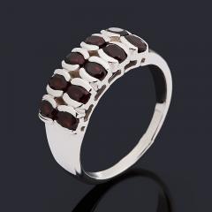 Кольцо гранат альмандин Индия (серебро 925 пр. родир. бел.) огранка размер 19