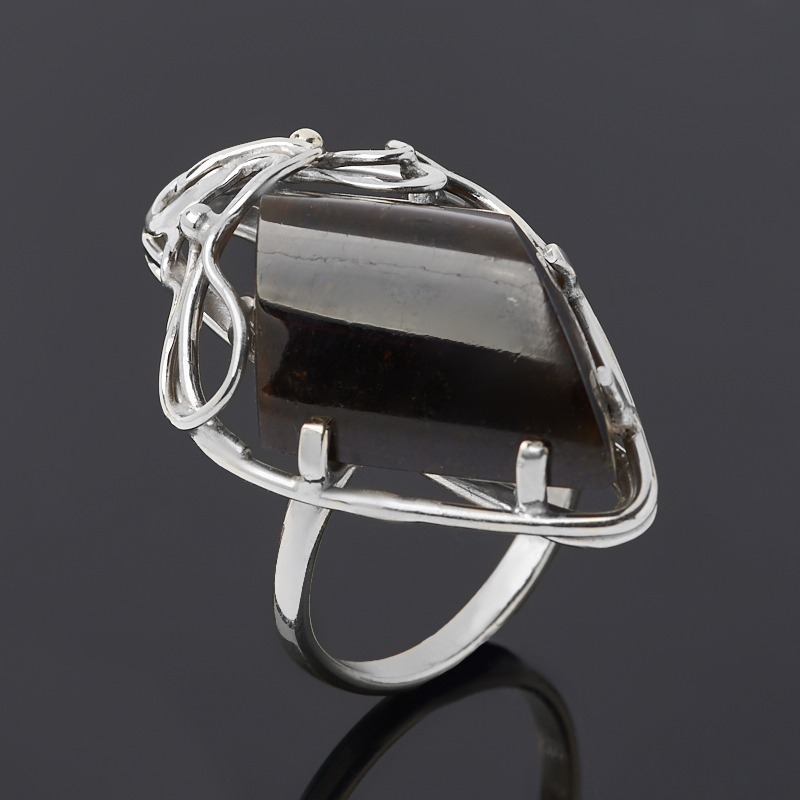 Кольцо турмалин коричневый (дравит) (нейзильбер) размер 18