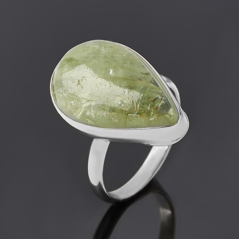 Кольцо апатит зеленый Россия (нейзильбер) размер 18