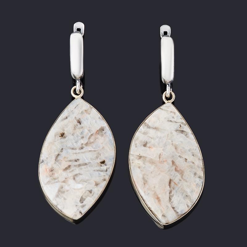 Серьги лунный камень (беломорит) (нейзильбер)