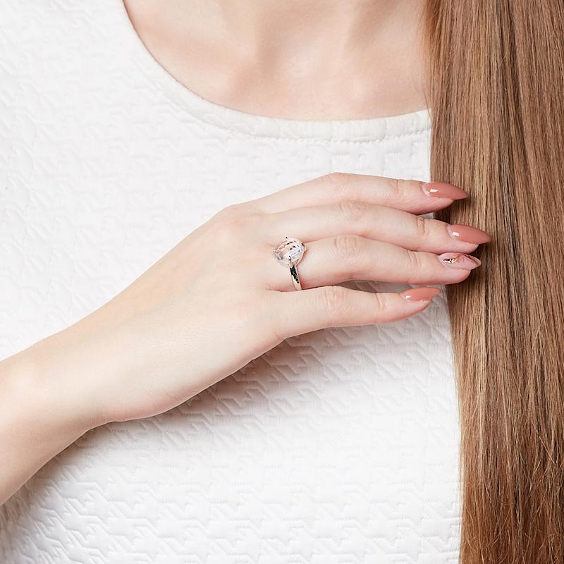 Кольцо горный хрусталь Бразилия (серебро 925 пр. родир. бел.) огранка размер 19,5