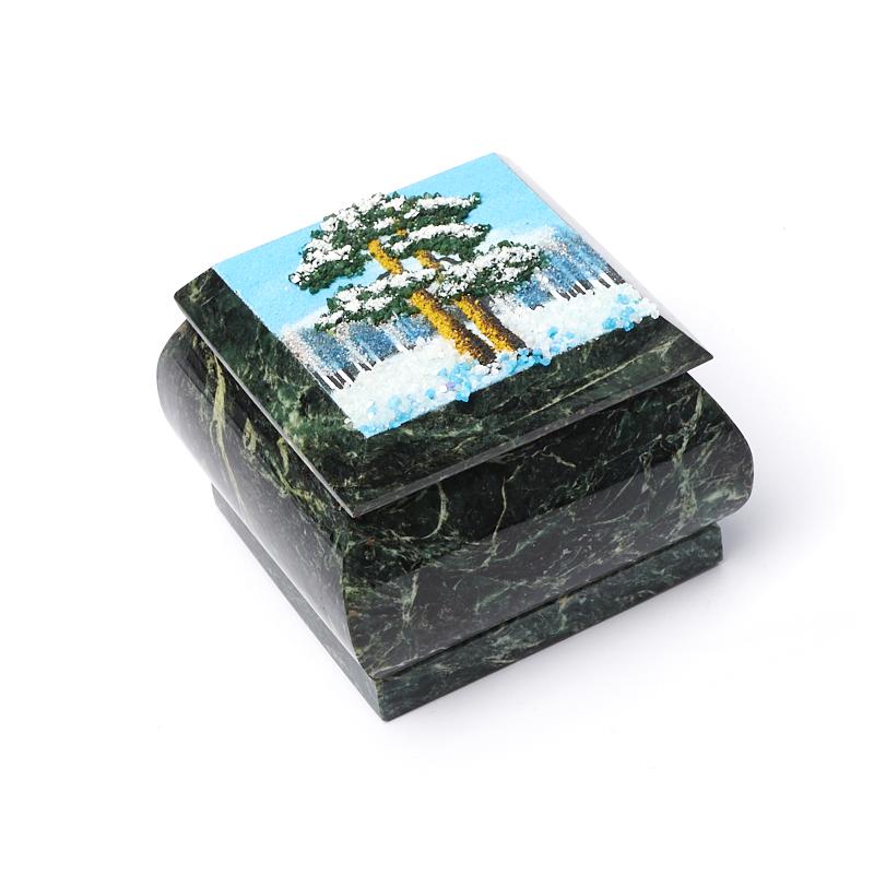 цена на Шкатулка змеевик 7х7х6 см