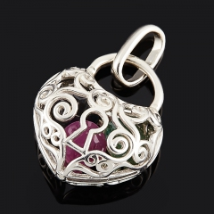 Кулон микс изумруд, рубин, сапфир черный (серебро 925 пр. родир. бел.) огранка