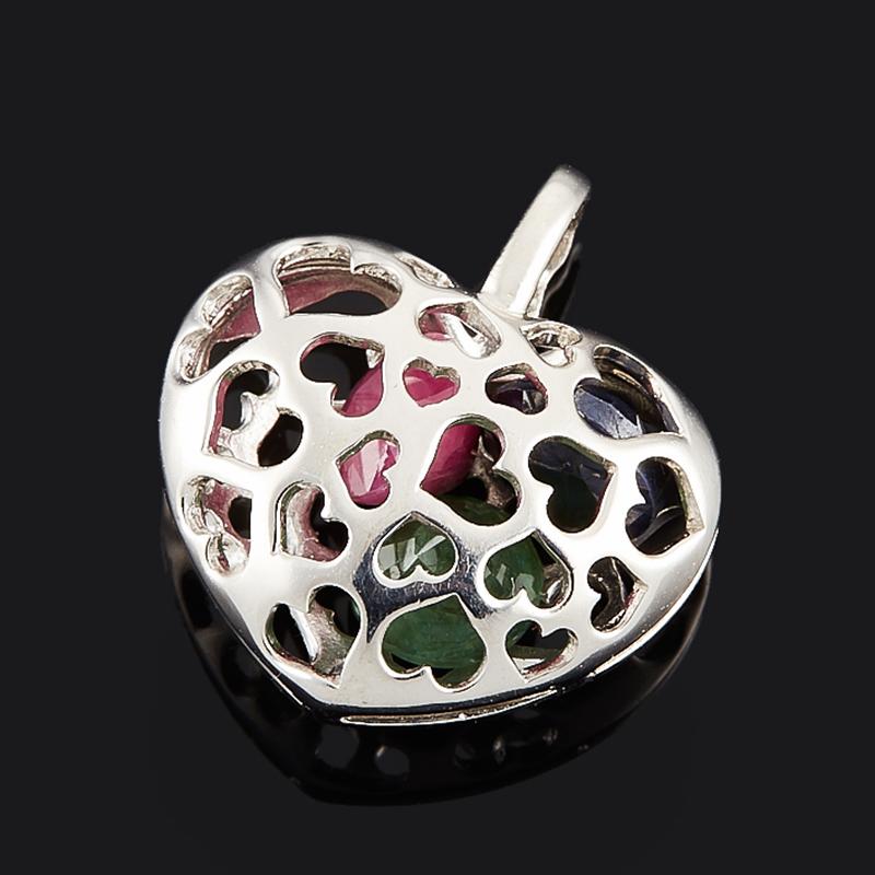кулон нечаянная радость рубин овал огранка серебро 925 пр Кулон микс изумруд, рубин, сапфир черный (серебро 925 пр. родир. бел.) сердечко огранка