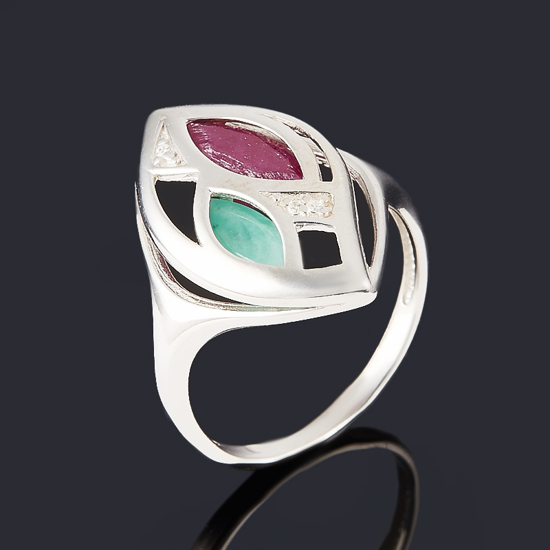Кольцо микс изумруд, рубин (серебро 925 пр. родир. бел.) огранка размер 15