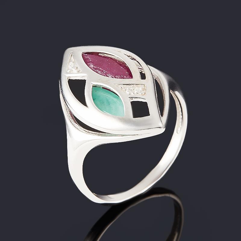 Кольцо микс изумруд, рубин (серебро 925 пр. родир. бел.) огранка размер 19,5