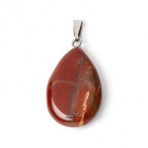Кулон яшма красная ЮАР (биж. сплав) капля 3-3,5 см