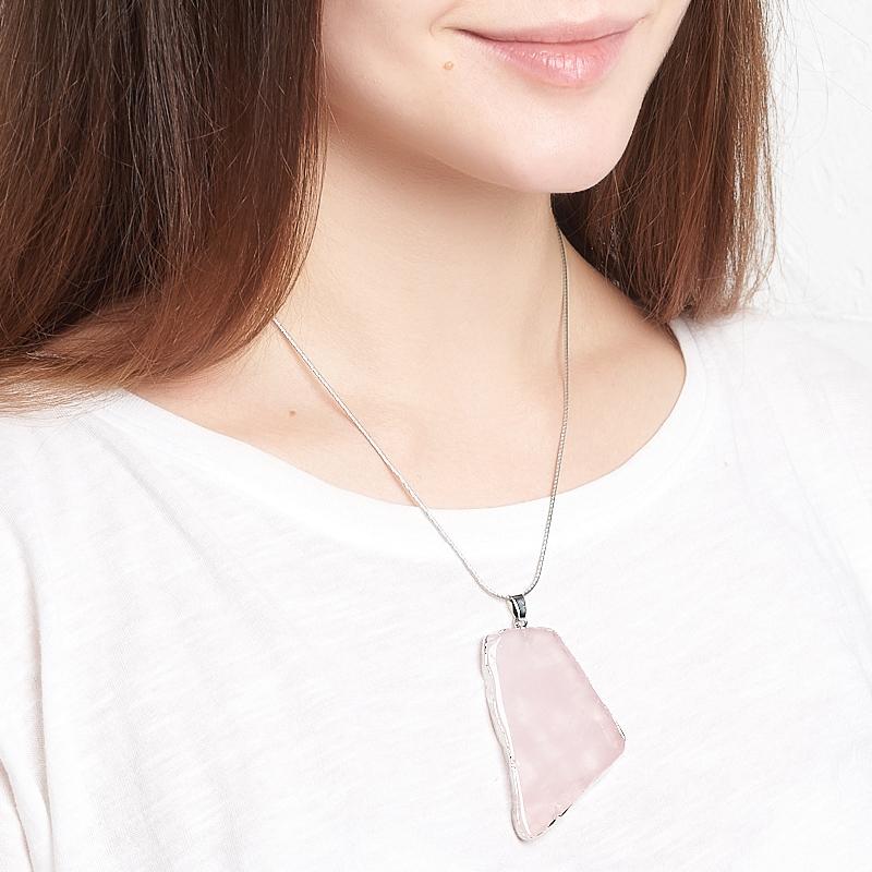 Кулон розовый кварц Бразилия (биж. сплав) срез 5,5-7 см