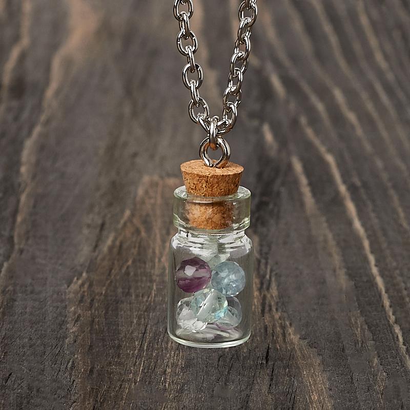 Кулон флюорит (биж. сплав) бутылочка огранка 2,5 см