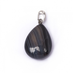 Кулон агат черный Бразилия (биж. сплав) капля 3,5 см