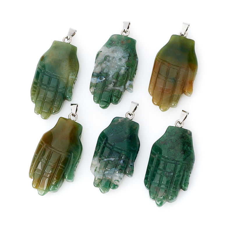 Кулон агат моховой Индия (биж. сплав) 5-5,5 см