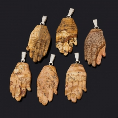Кулон яшма рисунчатая (песочная) ЮАР (биж. сплав) 5-5,5 см