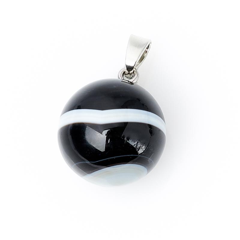 Кулон агат черный Бразилия шар (биж. сплав) 3 см