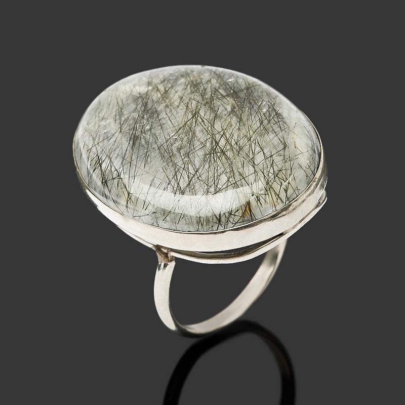 Кольцо кварц с турмалином (нейзильбер) размер 18