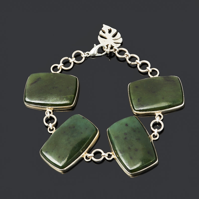 Браслет нефрит зеленый (нейзильбер) 16 см (регулируемый) браслет нефрит зеленый цельный 19 см