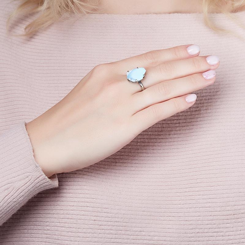 Кольцо бирюза (дублет) Казахстан (нейзильбер) размер 18