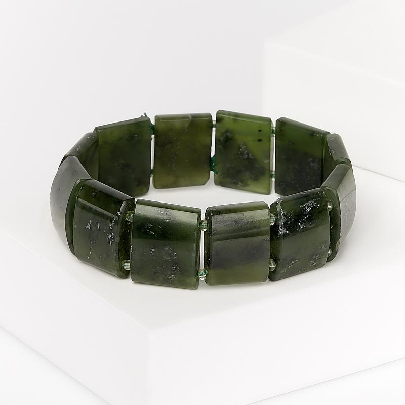 Браслет нефрит зеленый 18 см