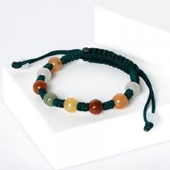 Браслет микс жадеит, солнечный камень (текстиль) шамбала 8 мм 15 см (регулируемый)
