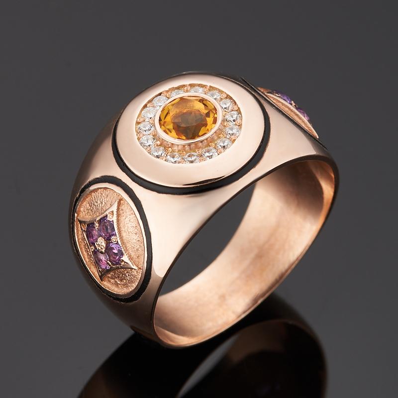Кольцо микс аметист, цитрин (серебро 925 пр. позолота) огранка размер 22,5