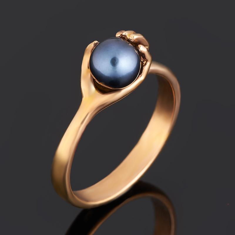 Кольцо жемчуг черный (серебро 925 пр. позолота) размер 18