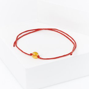 Браслет цитрин Бразилия (текстиль) красная нить На деньги огранка 6 мм 28 см (регулируемый)