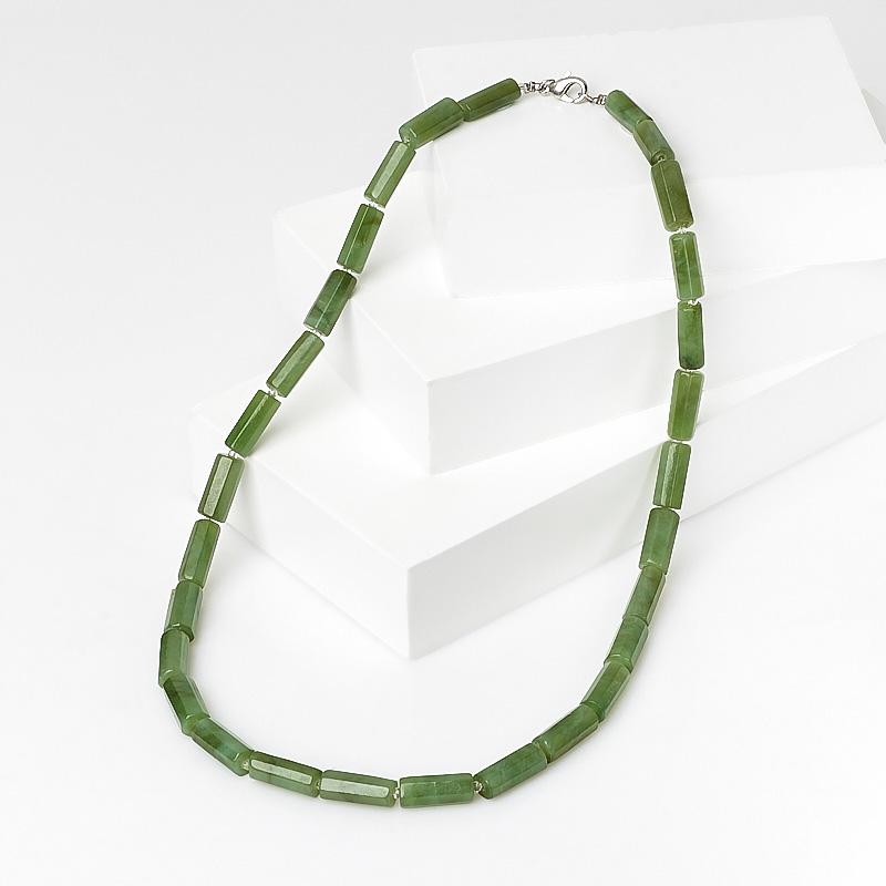 Бусы нефрит зеленый (биж. сплав) 47 см бусы содалит 47 54 см биж сплав