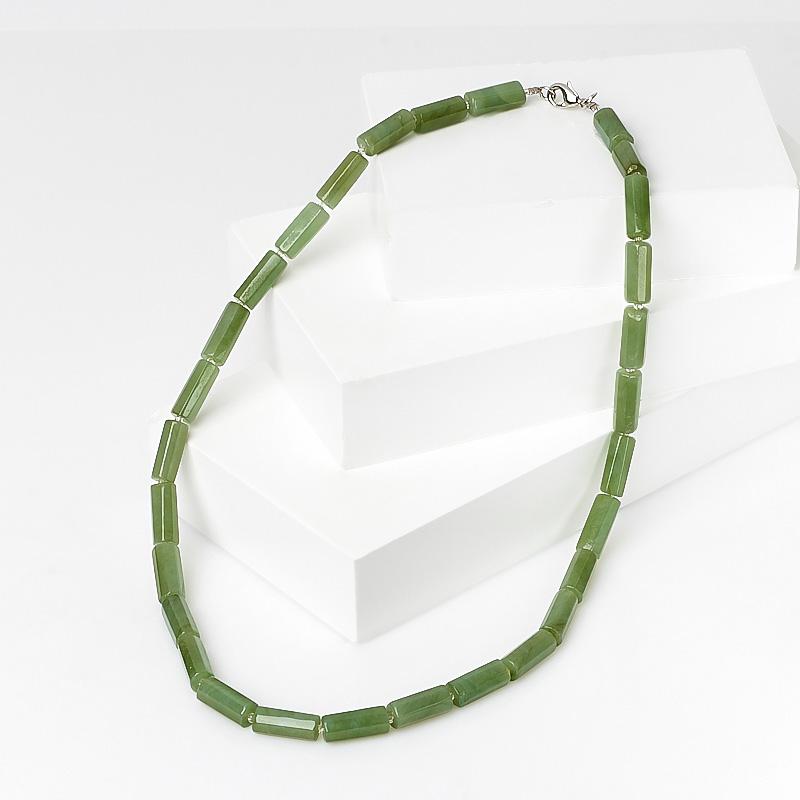 Бусы нефрит зеленый (биж. сплав) 47 см
