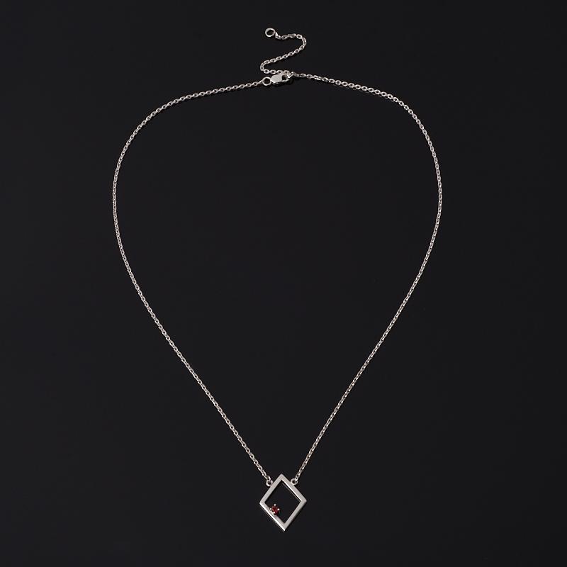 Кулон гранат альмандин Индия (серебро 925 пр. родир. бел.) ромб огранка