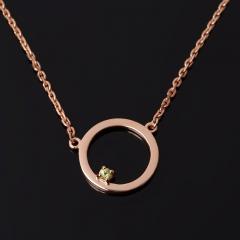Кулон хризолит США (серебро 925 пр. позолота) круг огранка