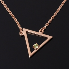Кулон хризолит США (серебро 925 пр. позолота) треугольник огранка
