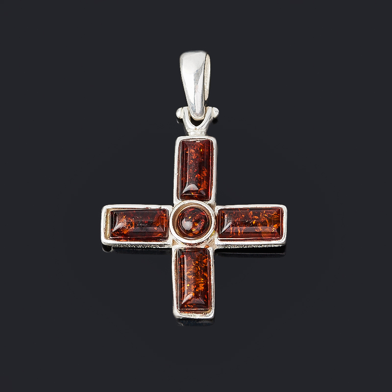 Кулон янтарь крест (латунь посеребр.) 3,5 см am 1560 фигурка корабль ладья славянская латунь янтарь