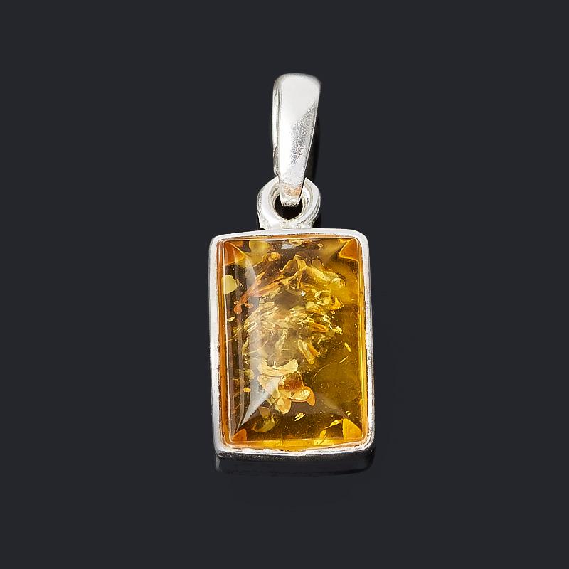 Кулон янтарь (латунь посеребр.) прямоугольник 2 см стоимость