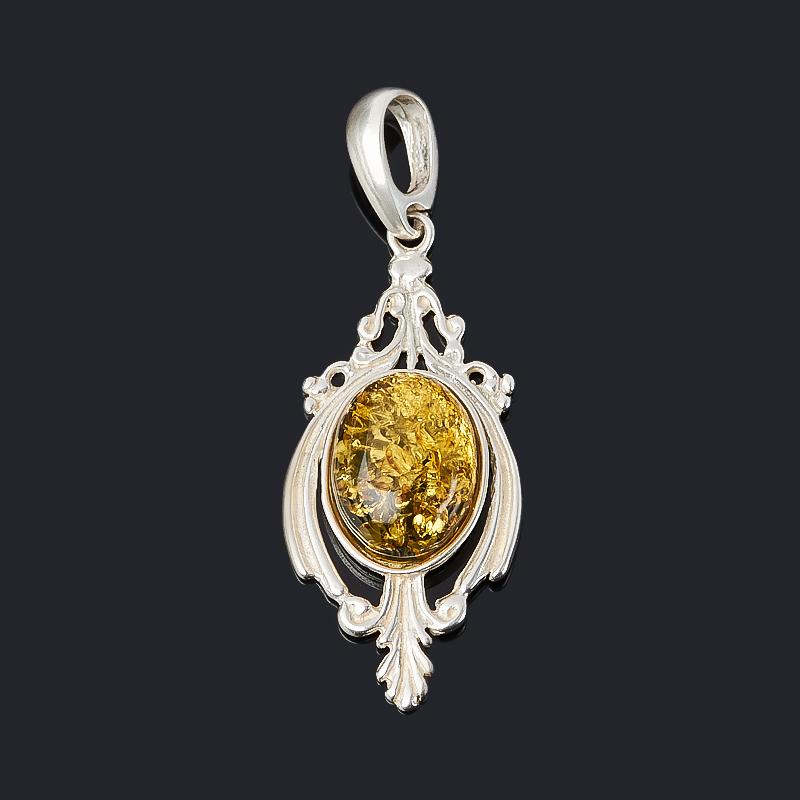 Кулон янтарь (латунь посеребр.) 4 см стоимость