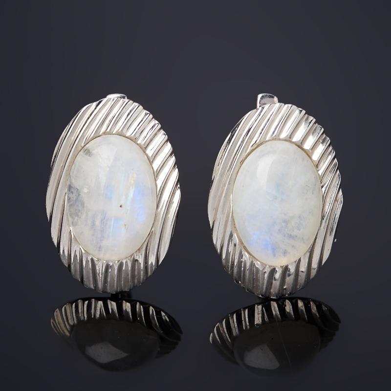 Серьги лунный камень (адуляр) (серебро 925 пр. родир. бел.) фото