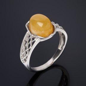 Кольцо опал желтый Перу (серебро 925 пр. родир. бел.) размер 18