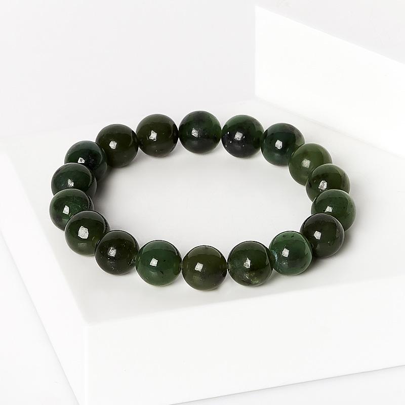Браслет нефрит зеленый 10 мм 16 см браслет нефрит зеленый цельный 19 см