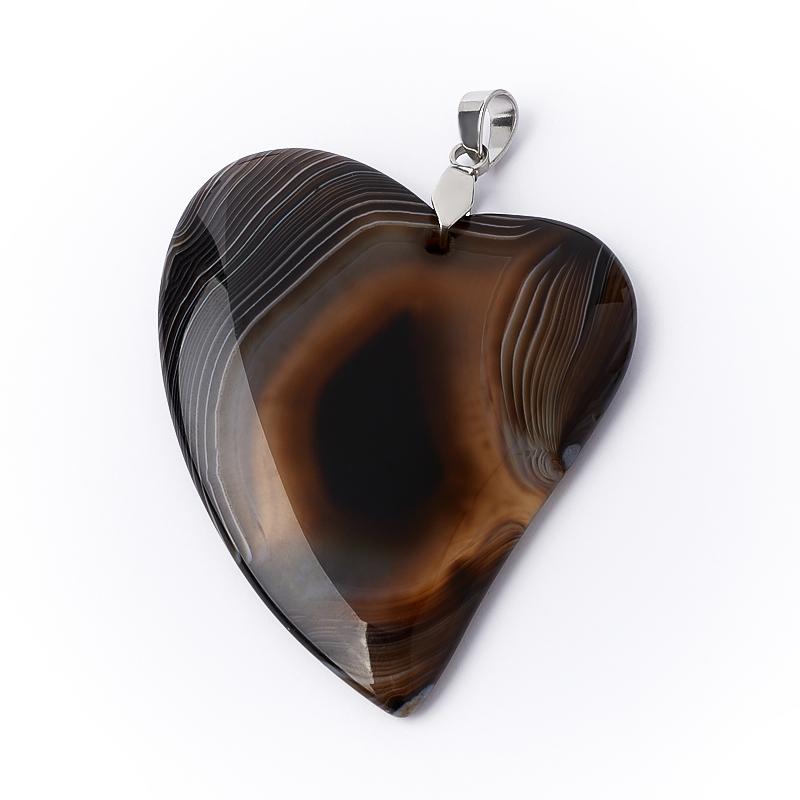 Кулон агат черный Бразилия (биж. сплав) сердечко 5-5,5 см