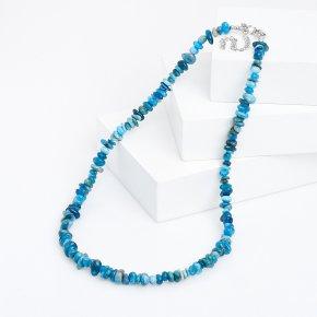 Бусы апатит синий Бразилия (биж. сплав) 44 см (+7 см)
